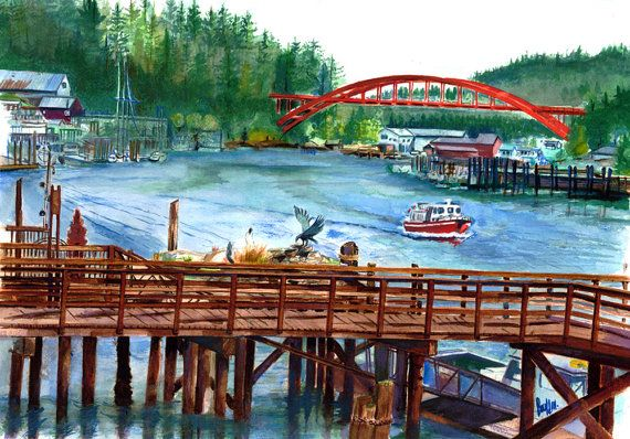 The Red Bridge Signed Print from Original Watercolor by bouldnart