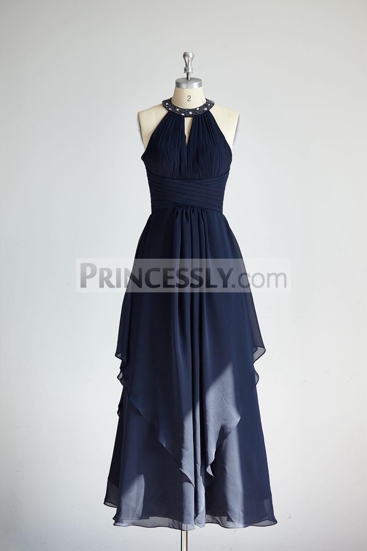 Halter navy blue beaded chiffon long wedding bridesmaid dress in