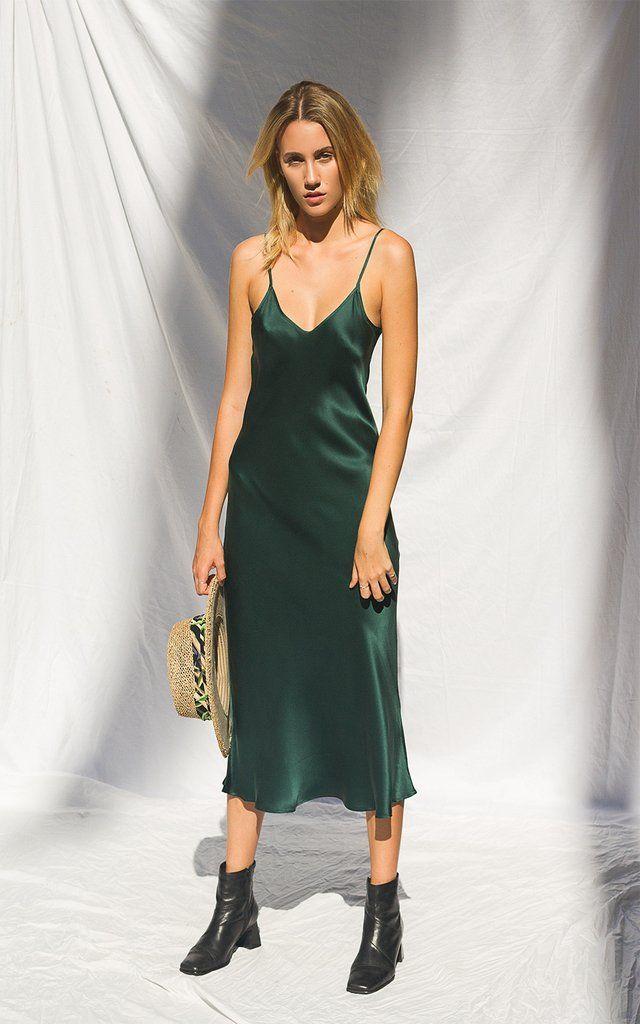 Silk Laundry 90s Emerald Silk Slip Dress Silk Clothing