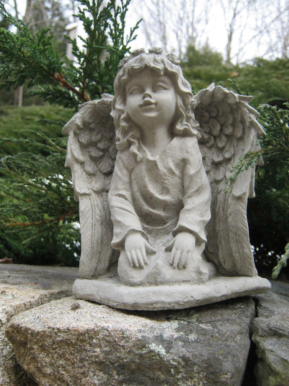 Angel Statue Angel Girl Concrete Garden Statue Concrete Etsy Concrete Garden Statues Concrete Garden Whimsical Garden Art