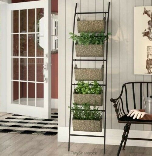 Vertical Garden Planter Pots Iron Plant Rack 5 Tier