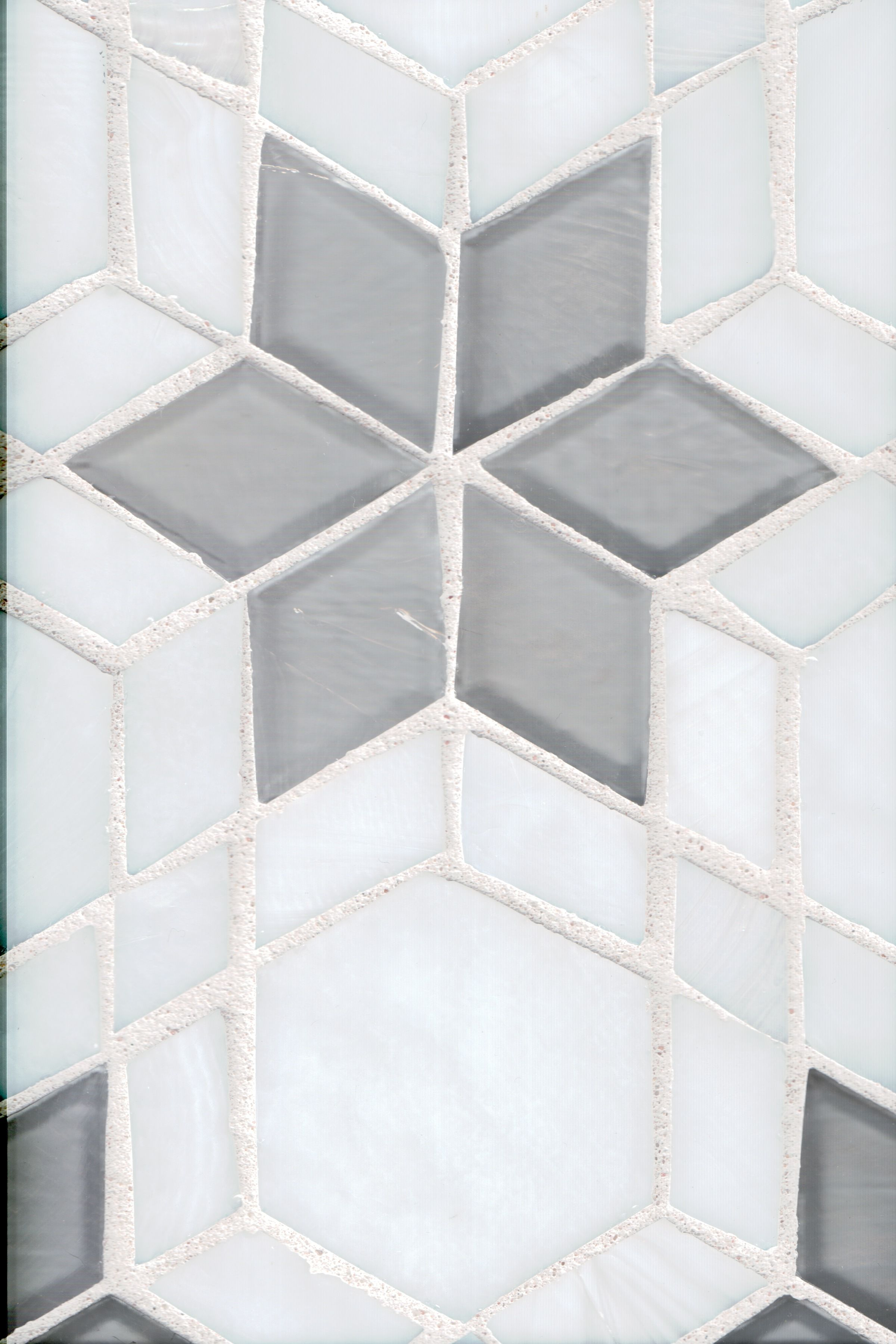 Fez Hexagon Blend - White and Grey glass tile available at World ...