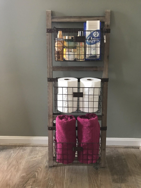 Wooden ladder shelf with wire baskets home ideas pinterest
