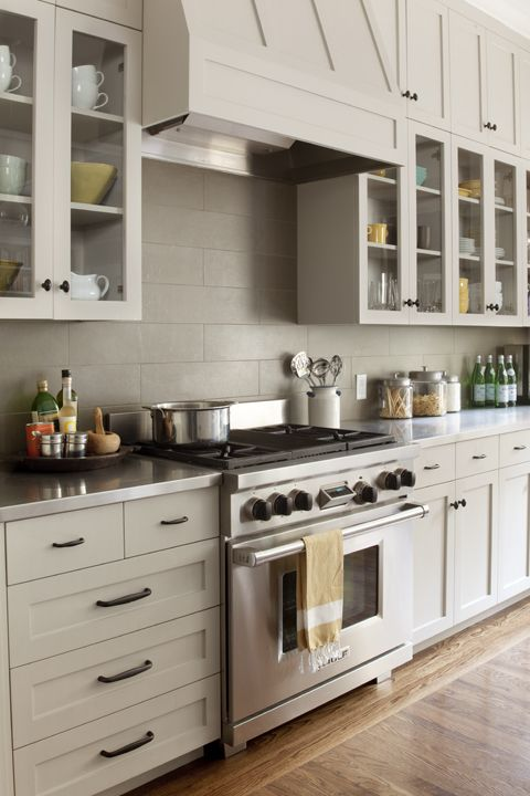 Subway Tile Backsplash And Glass Cabinets Kitchen Cabinets