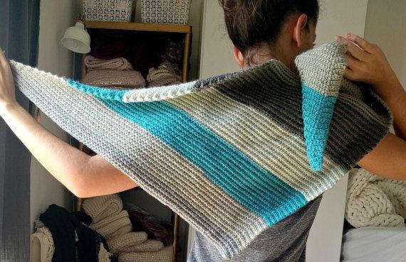 Striped Triangle Shawl Pattern, Caron Cakes Yarn Pattern