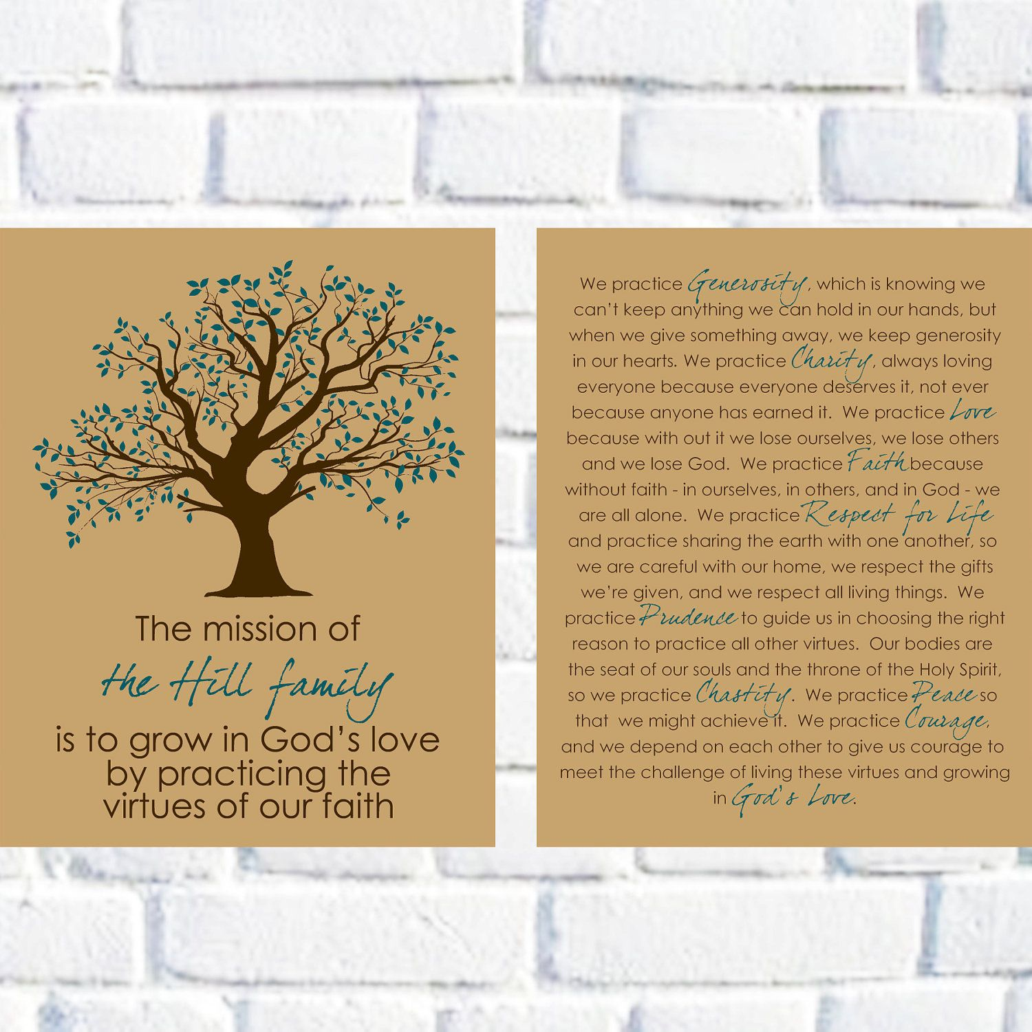 Family Mission Statement Set Of Two