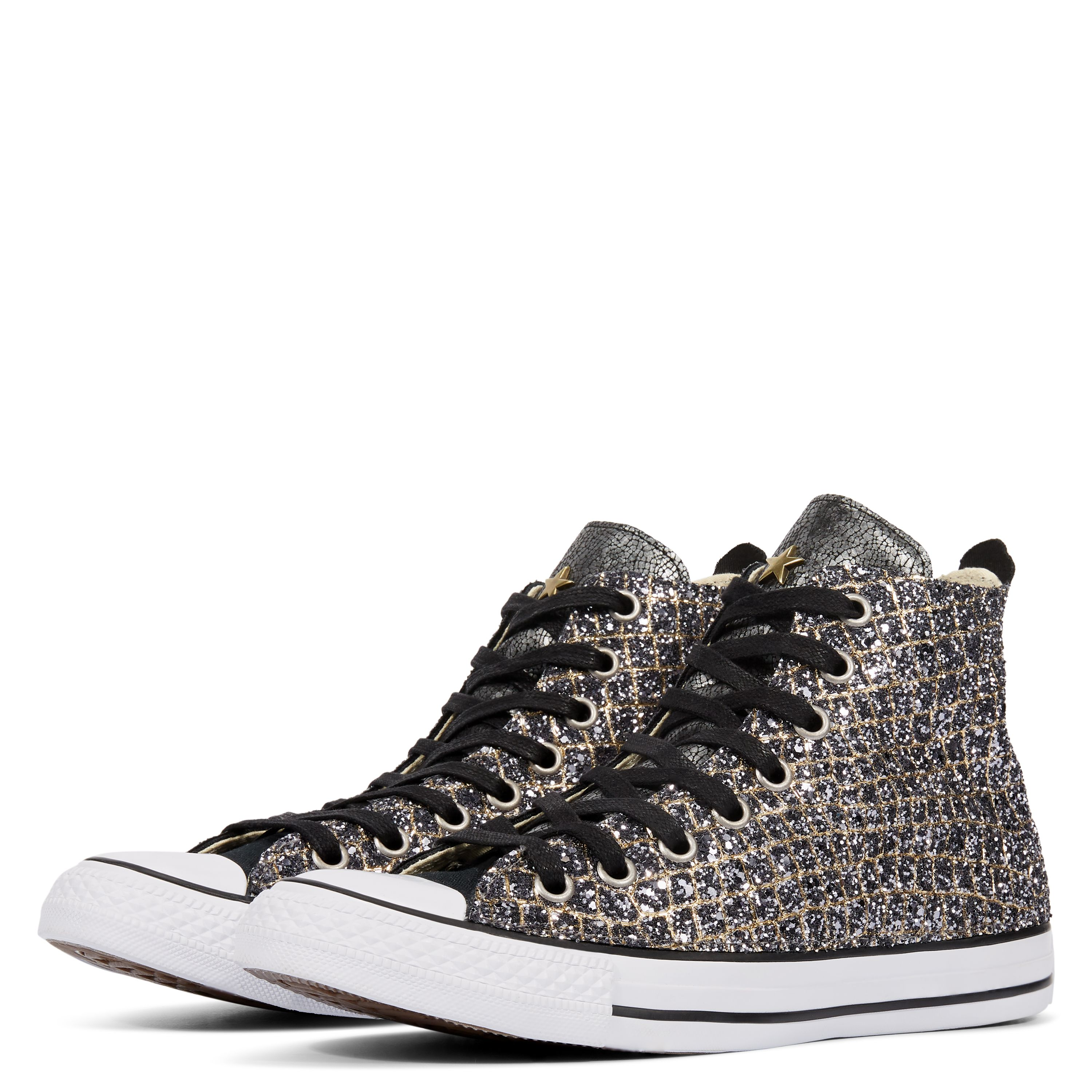 8e42a654731 Chuck Taylor All Star Camo Metal High Top Black Silver Gold Croco Glitte