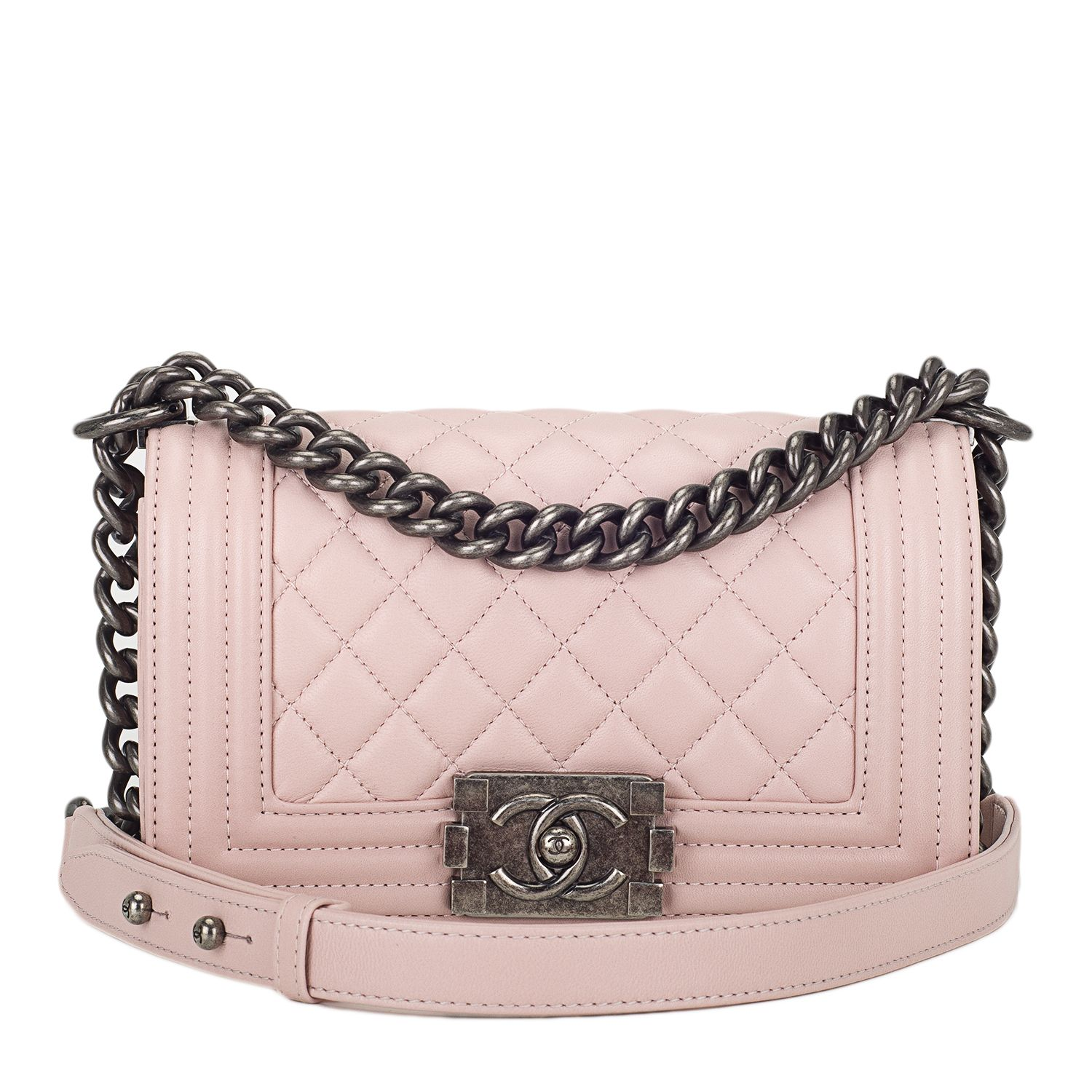 #Chanel Light Pink Quilted Lambskin Small Boy #Bag