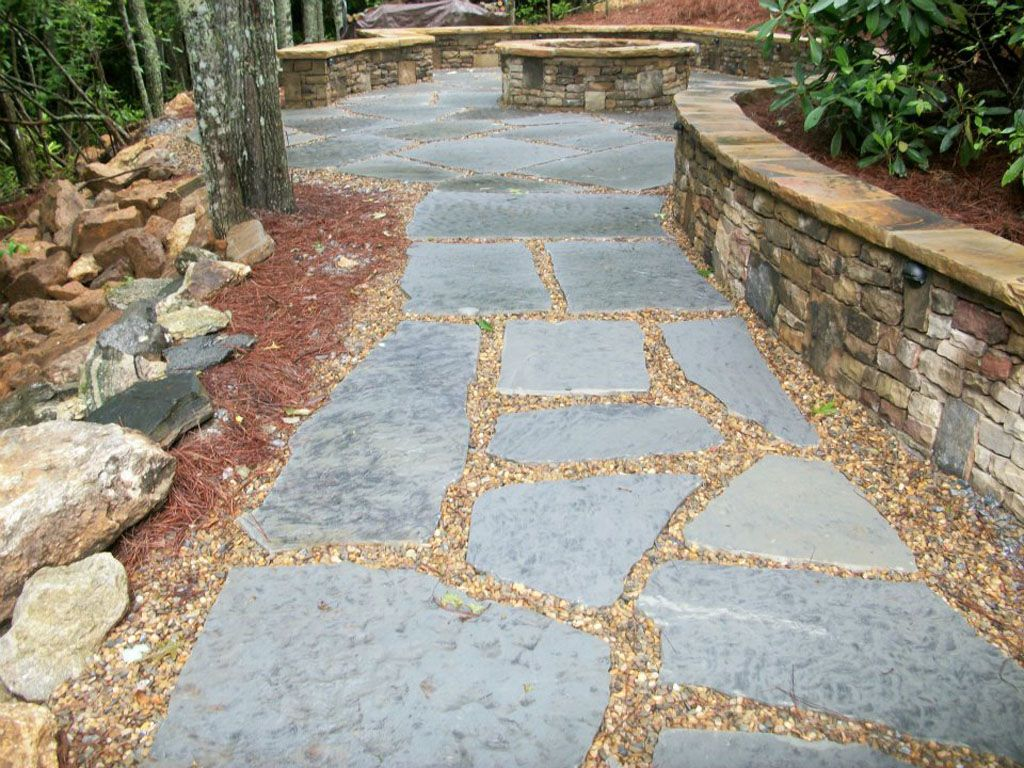 Gray Flagstone Pavers Set In Sand Bed