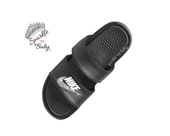 new product a42e4 25f98 Nike Slide Women s - Nike Benassi Duo Black - Custom Slides - Bling Sandals  - Bedazzled Swarovski Ni