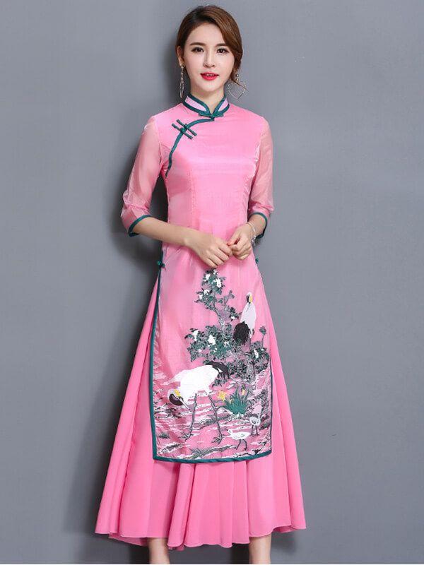 18f5491b2 Vietnamese Ao Dai Pattern Dress Traditional Chinese Dresses | Ao dai ...