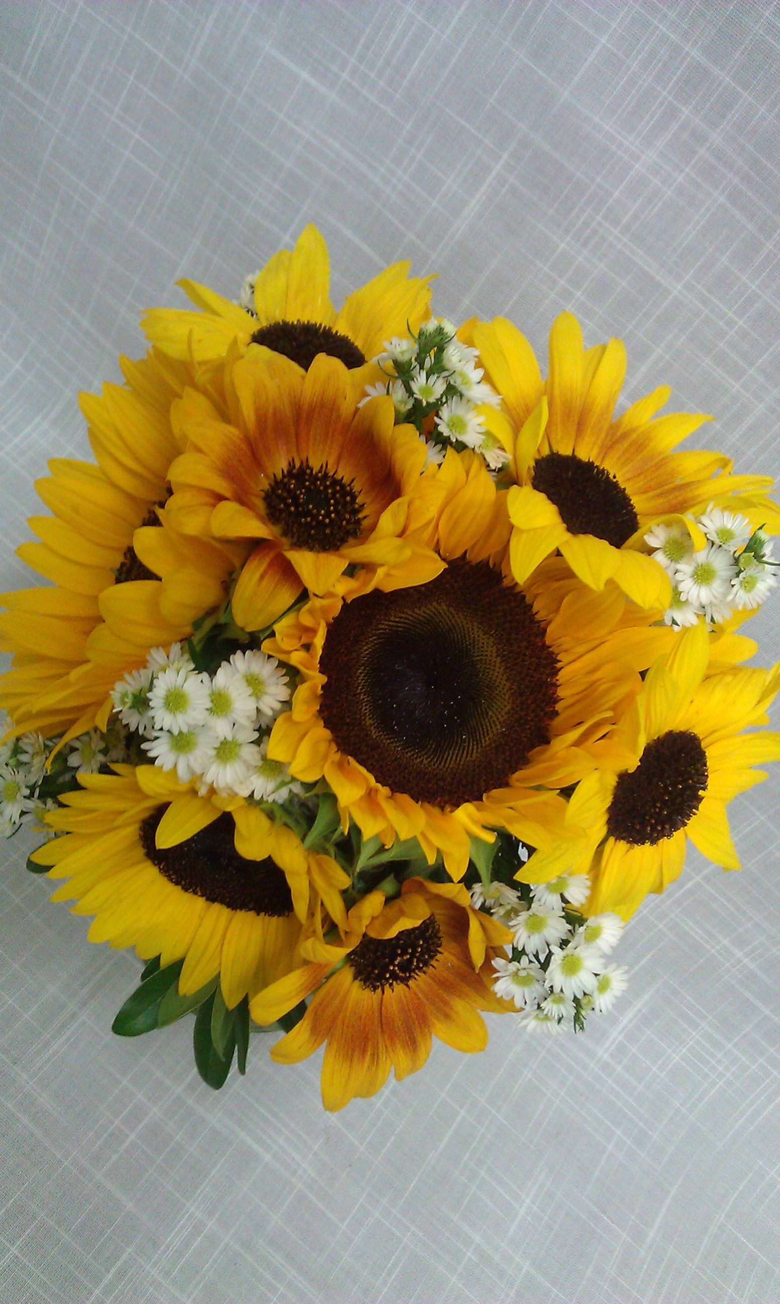 Sunflower Wedding Bouquet accented with white asters