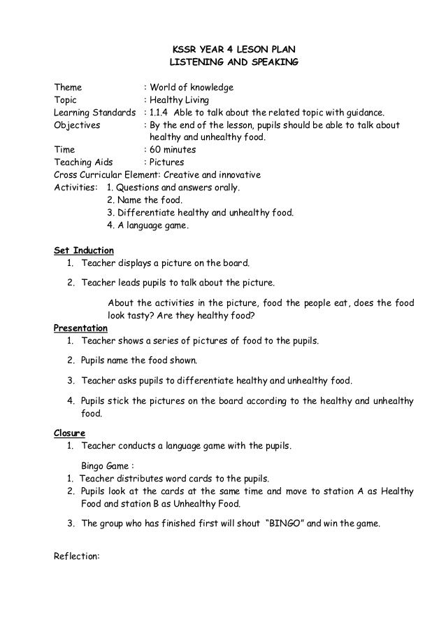 Lesson plan kssr year 4 | lesson plans | Lesson plans, How to plan