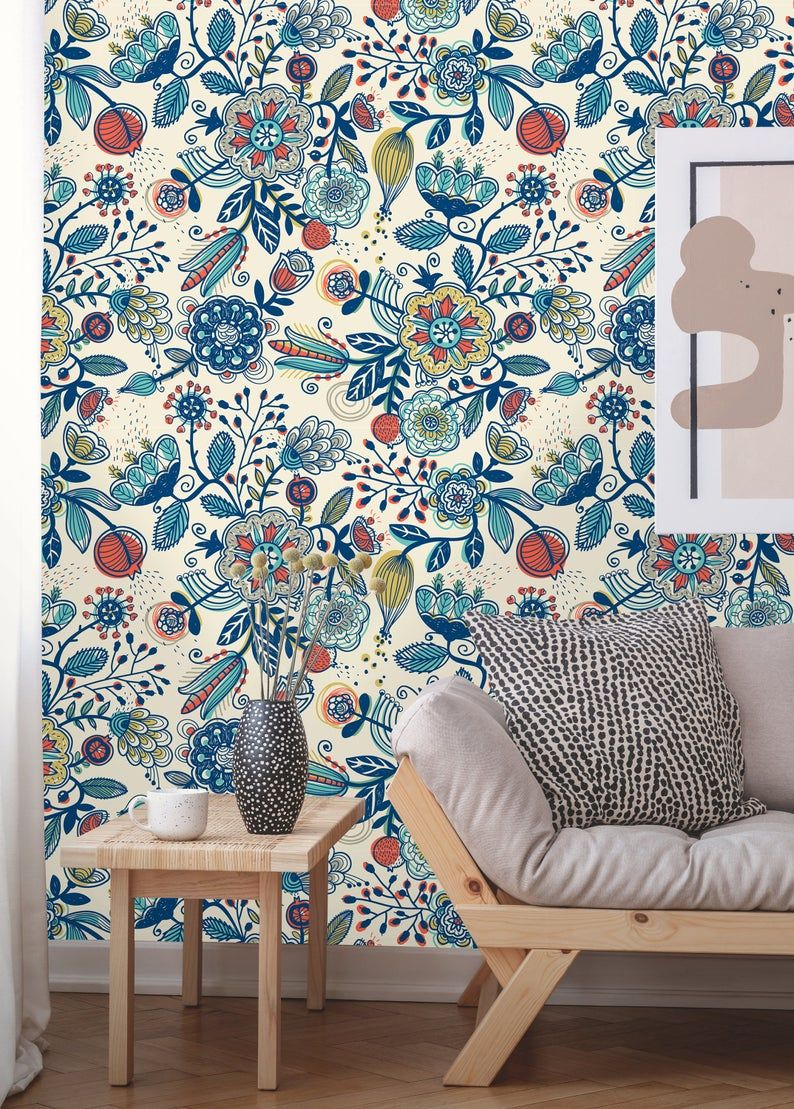 Removable Wallpaper Peel And Stick Floral Pattern Boho Etsy In 2021 Boho Wallpaper Removable Wallpaper Peal And Stick Wallpaper