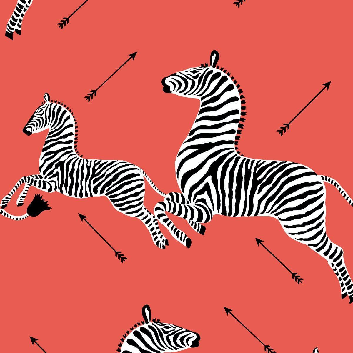 Coral Zebra Upholstered Custom Peel And Stick Wallpaper Roll In 2020 Wallpaper Roll Peel And Stick Wallpaper Zebra