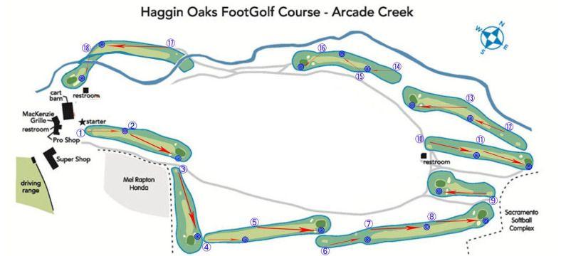 Footgolf Course At Arcade Creek Golf Course Haggin Oaks Disc Golf Golf Courses Miniature Golf