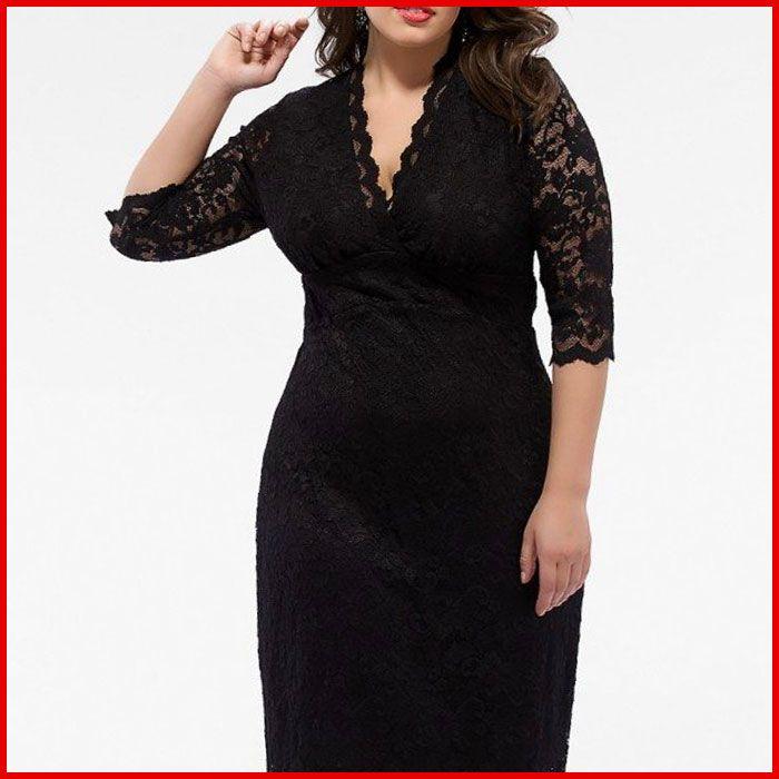 Kiyonna Plus Size Cocktail Dresses Black Lace V-Neck | Products I ...