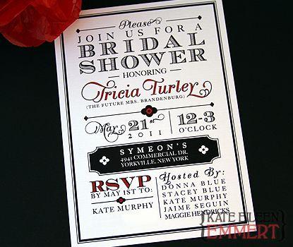 kate eileen emmert tricia vintage red black bridal shower invitations