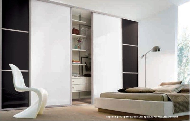 Bedroom, Contemporary Wardrobe With Black And White Color ...