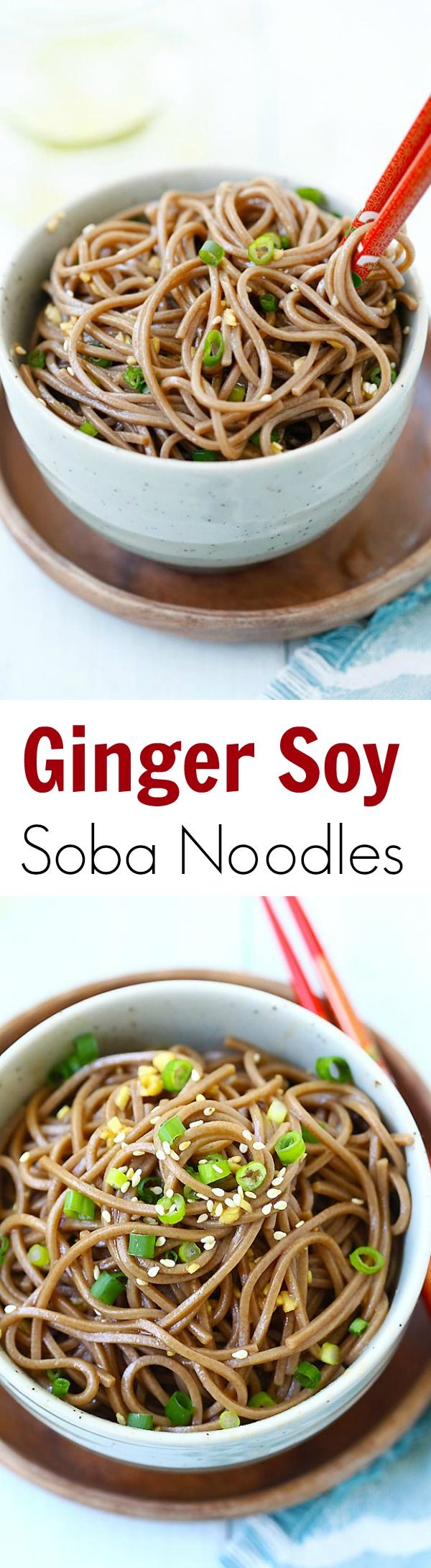 Ginger Soy Soba – the easiest and healthiest noodles made with ginger, soy sauce, honey and Japanese soba noodles. 15 minutes to make! | rasamalaysia.com