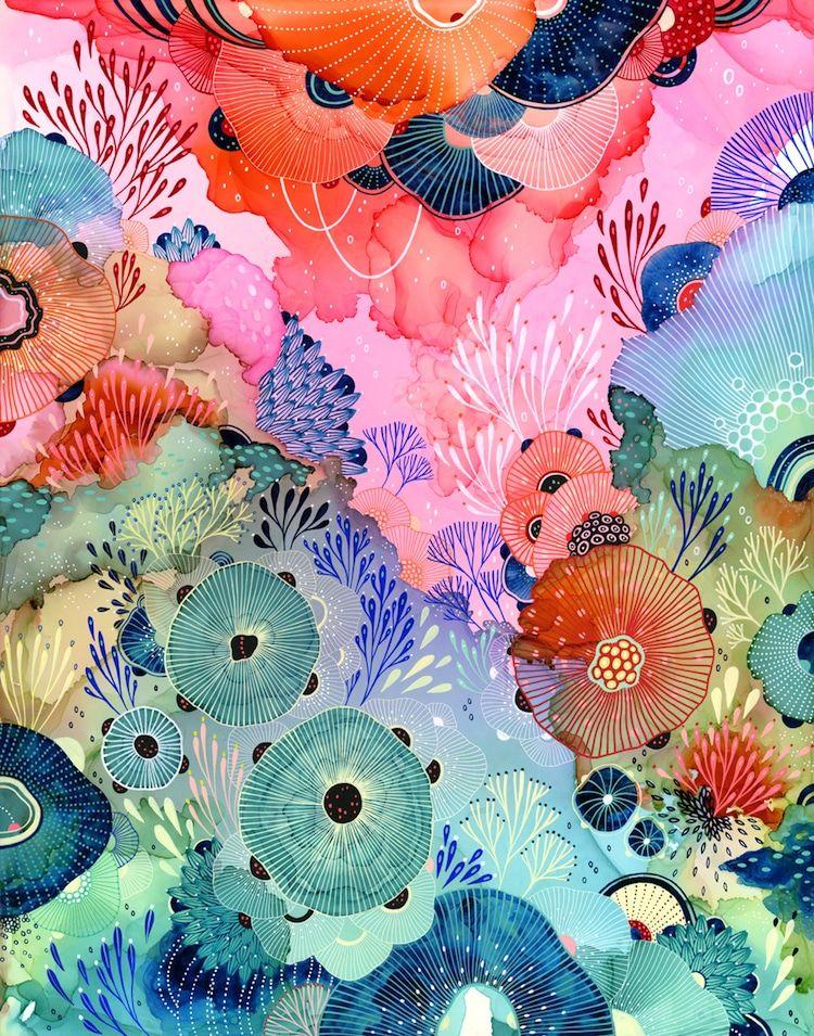 Cette artiste peint des écosystèmes imaginaires éclatants de la flore et de la faune