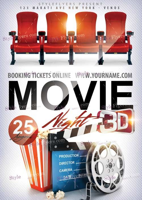Movie Night PSD V2 Flyer Template дада Pinterest Flyer - labour day flyer template