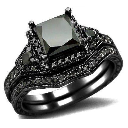 201ct Black Princess Cut Diamond Engagement Ring Wedding Set 14k Gold Jewelry