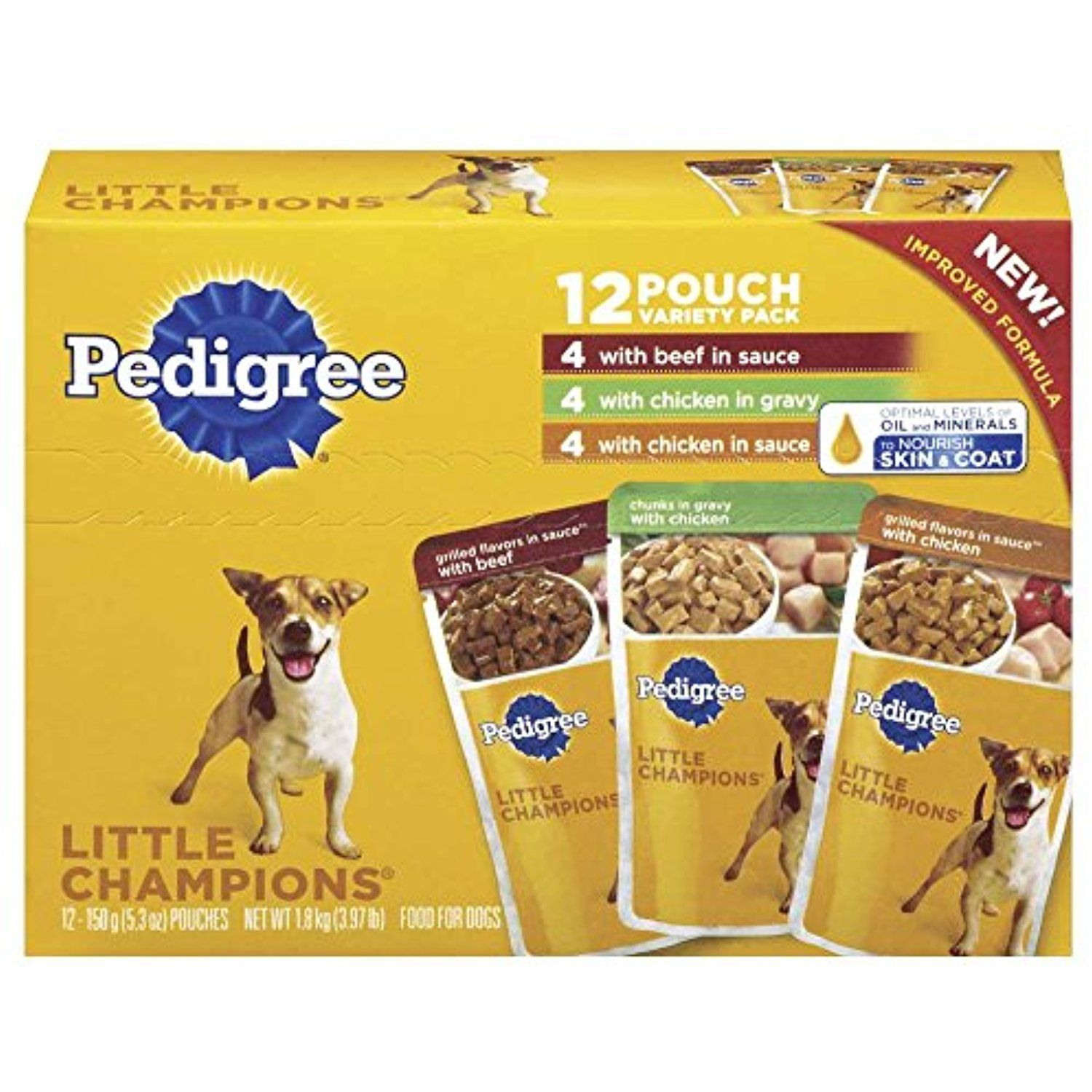 Pedigree Little Champions 12 Pouch Variety Pack Dog Food With 4