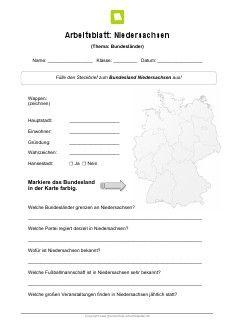 Bundesland Niedersachsen Arbeitsblatt | Landeskunde | Pinterest