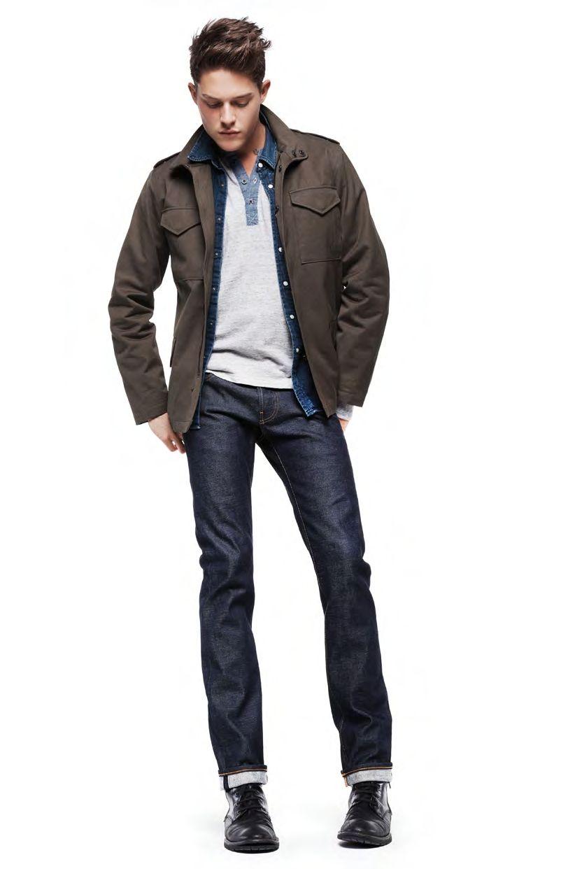 Men's Dark Brown Military Jacket, Grey Henley Sweater, Navy Denim ...