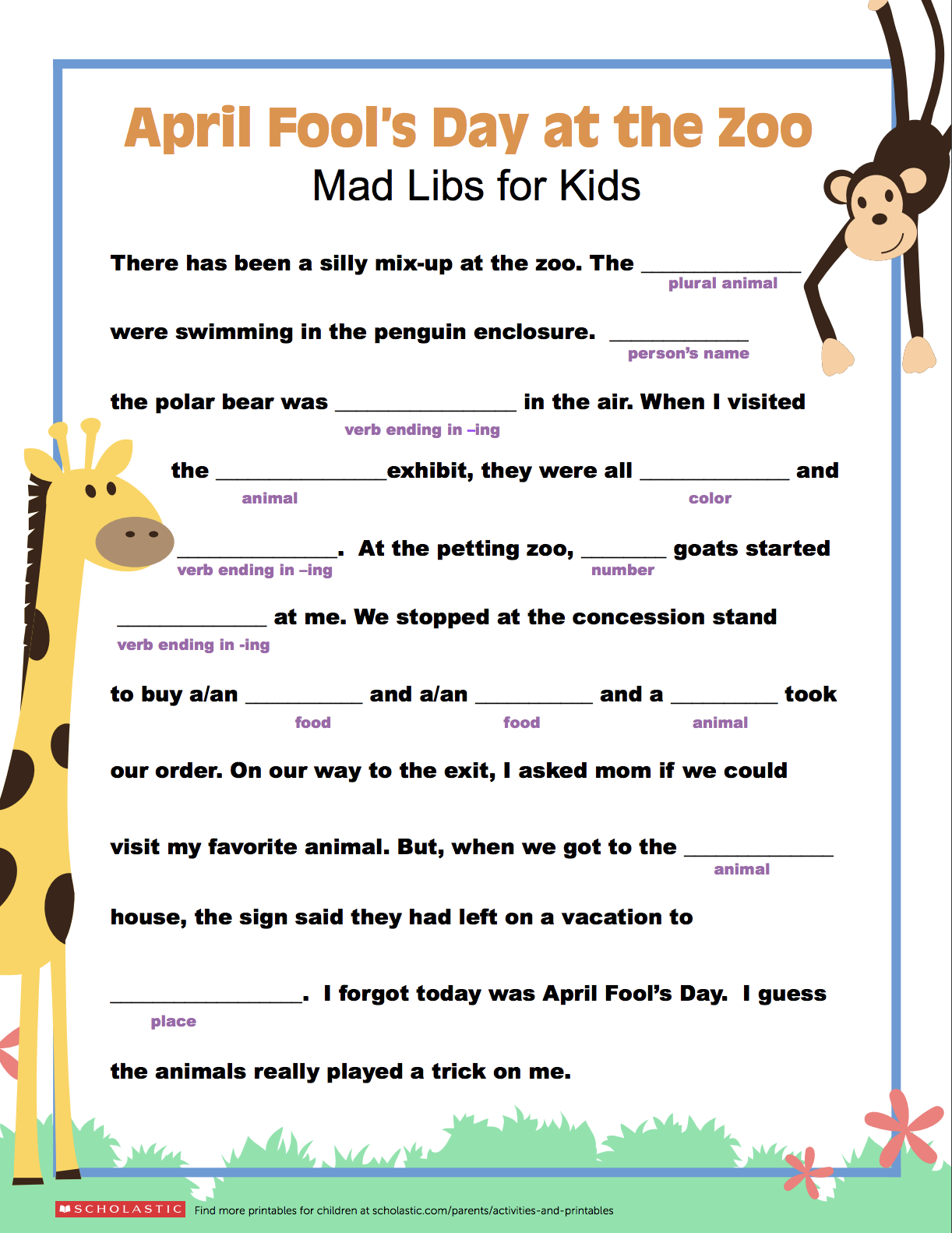 Tickle your creative writer's funny bone with this zany Mad Libs printable  that's perfect for April Fool's Day! 📝   Kids mad libs [ 1582 x 1222 Pixel ]