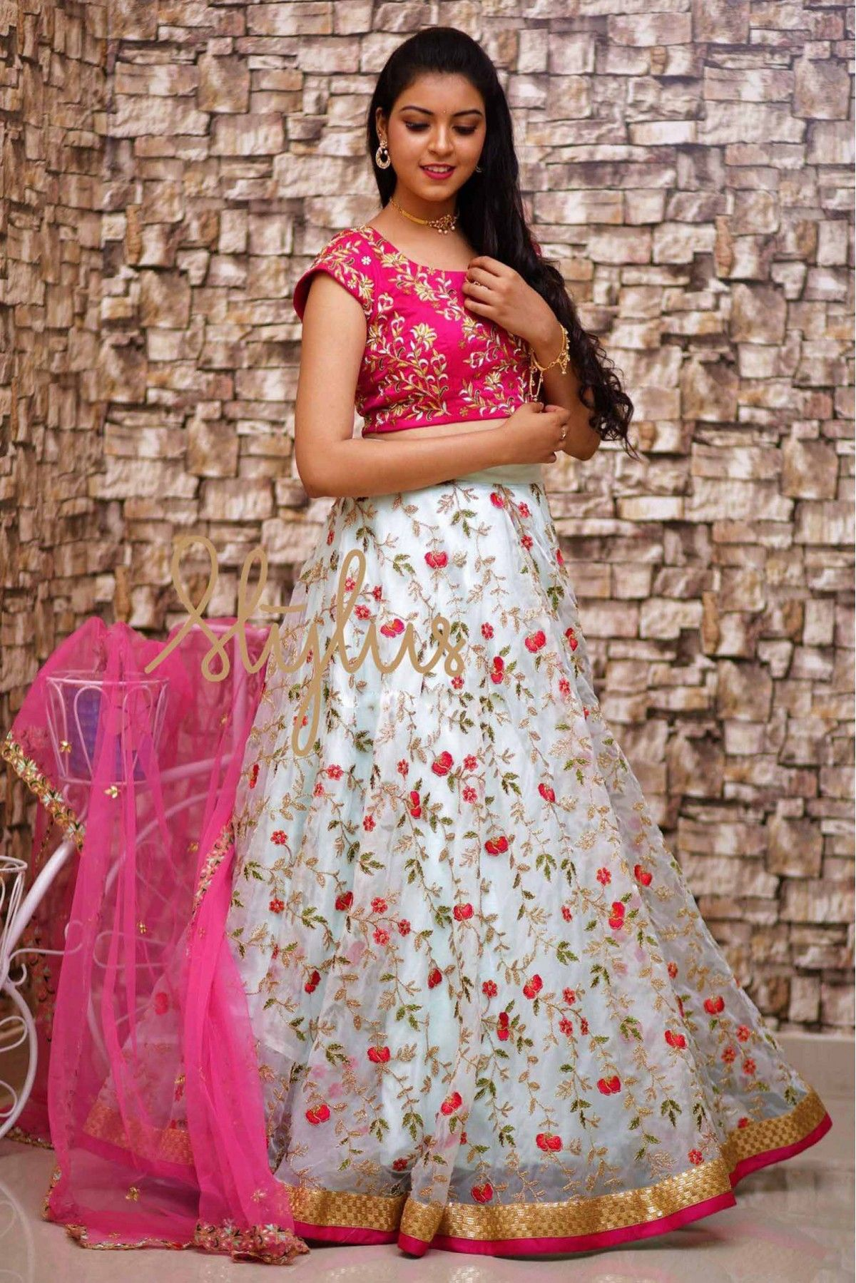 d4b8449a5a Off White Colour Organza Silk Fabric Lehenga Choli Comes with matching  blouse. This Lehenga Choli Is crafted with Thread Work This Lehenga Choli  Comes with ...