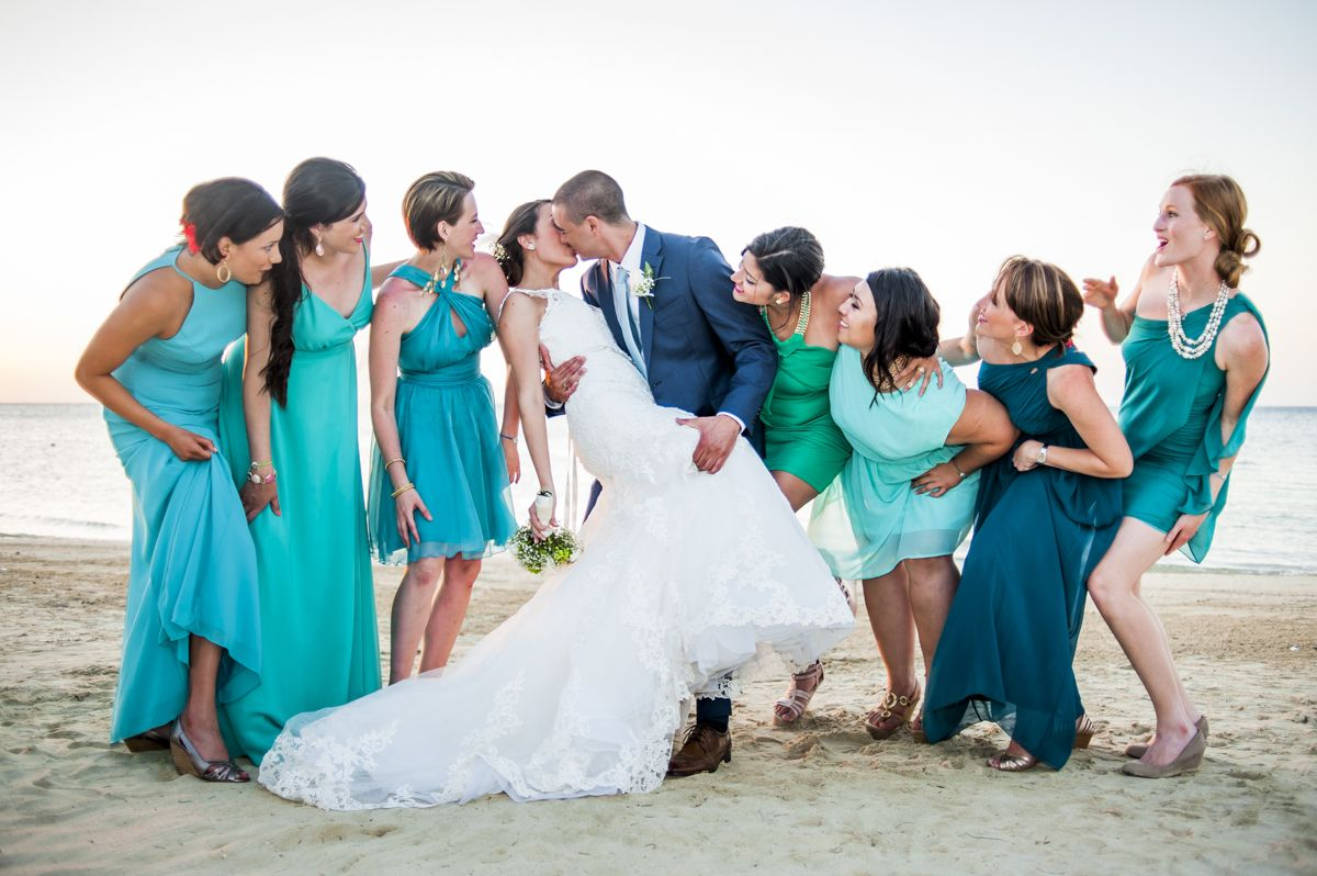 Beach wedding bridesmaids: non matching dresses. Aqua, teal, jade ...