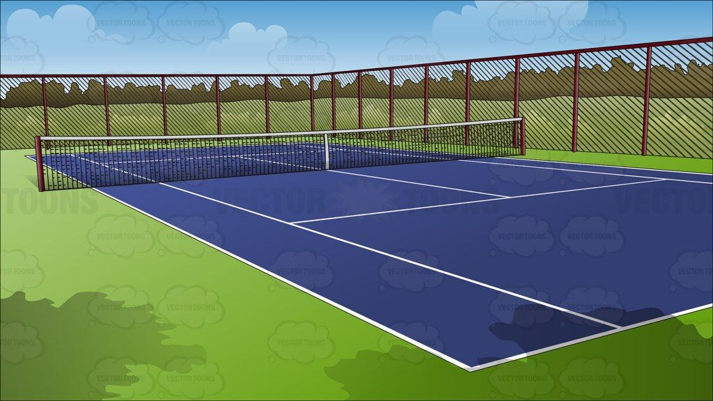 Outdoor Tennis Court Background Vector Graphics Vectortoons Com Architektur Visualisierung Visualisierung Architektur