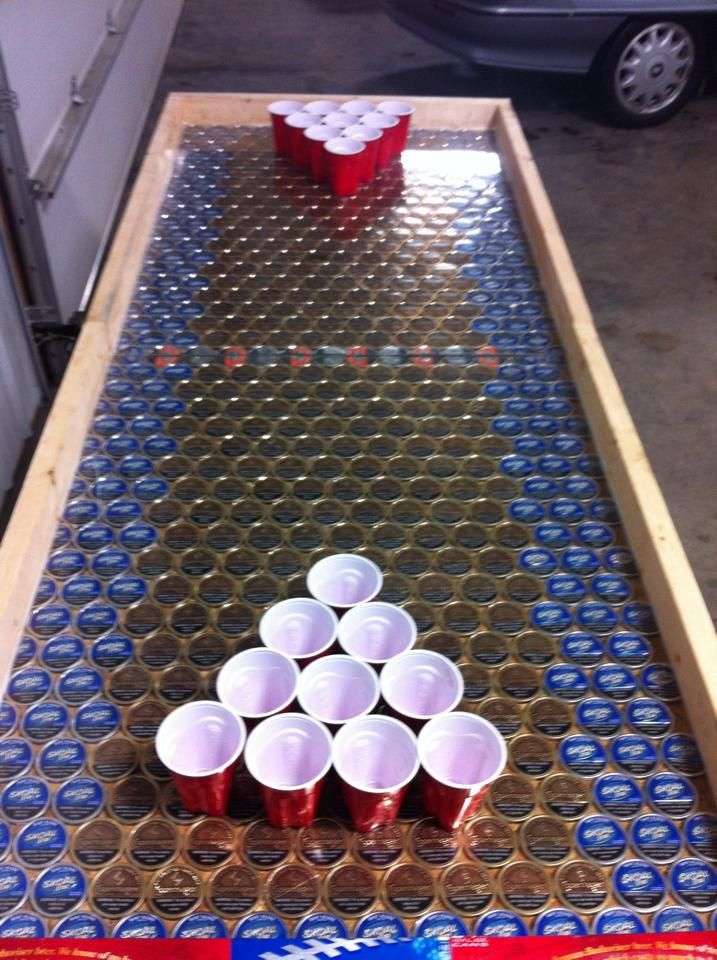 There will be a beer pong table somewhere in my house and for How to make a table out of bottle caps