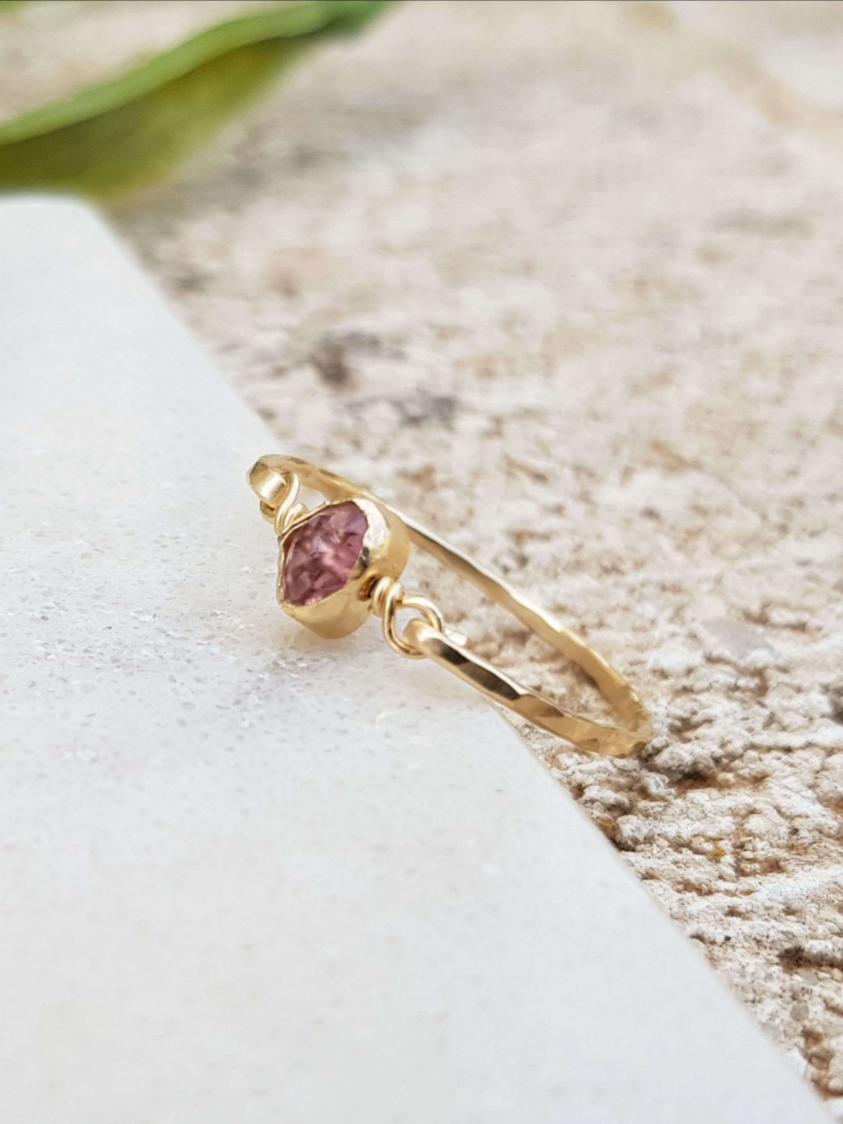 Pink Tourmaline Ring Dainty Gemstone Ring Promise Ring for her Sterling Silver Jewelry Stackable Ring Crystal Ring Boho Silver Ring