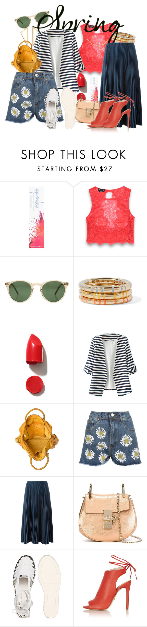 """wake up spring!"" by spiceandsugar ❤ liked on Polyvore featuring Bebe, Oliver Peoples, Elizabeth and James, NARS Cosmetics, WithChic, WearAll, Cédric Charlier, Chloé, Topshop and Jennifer Zeuner"
