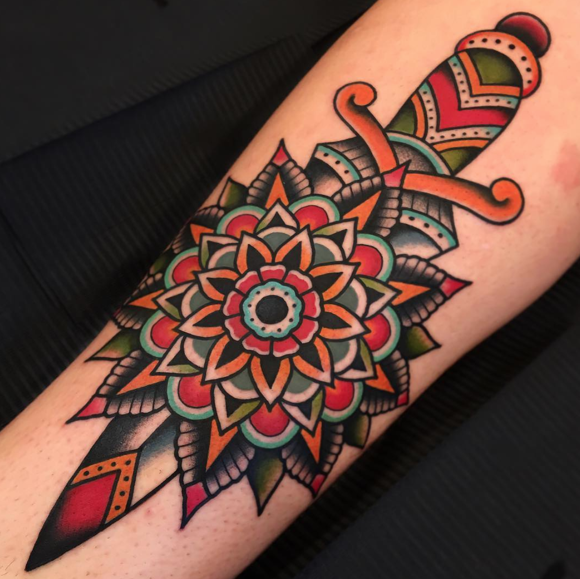 Post Traditional Dagger With Mandala By Samuele Briganti At Bold Will Hold Tattoo Shop In
