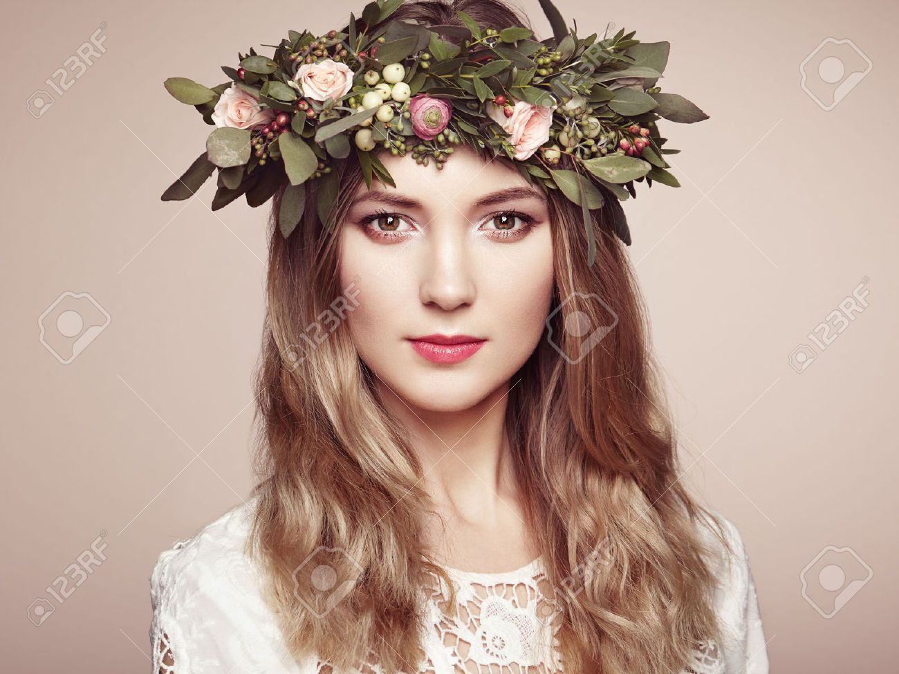 Beautiful blonde woman with flower wreath on her head beauty beautiful blonde woman with flower wreath on her head beauty izmirmasajfo Gallery