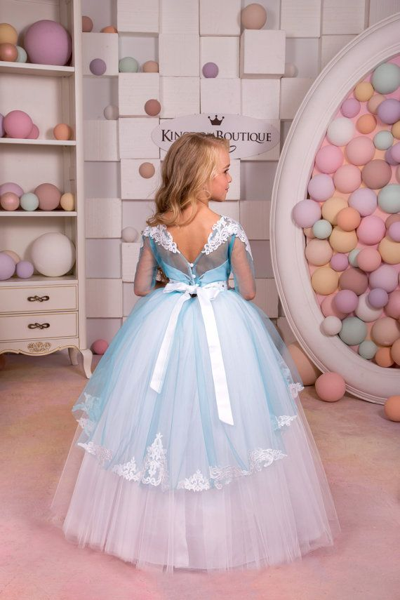 White and Blue Flower Girl Dress - Wedding Party Holiday Birthday ...