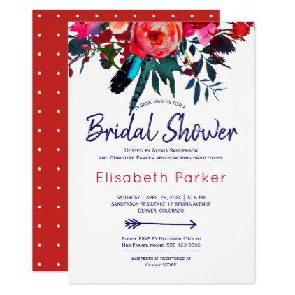 45ae8666ef79 Boho red navy blue floral bouquet bridal shower card