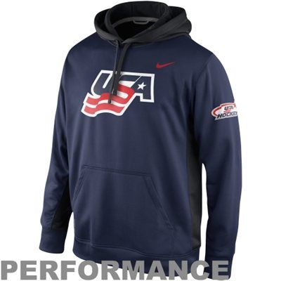 Nike Usa Hockey Ko Pullover Performance Hoodie Navy Blue Usa Hockey Casual Wear For Men Hoodies