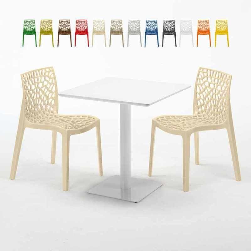 Table carrée 70x70 blanche avec 2 chaises colorées GRUVYER ...