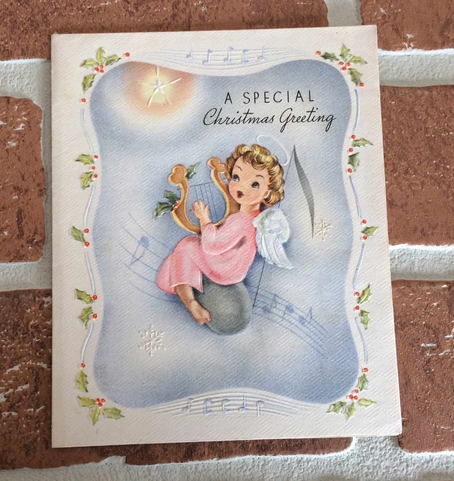 Used vintage angel playing harp on music note christmas greeting used vintage angel playing harp on music note christmas greeting card m4hsunfo