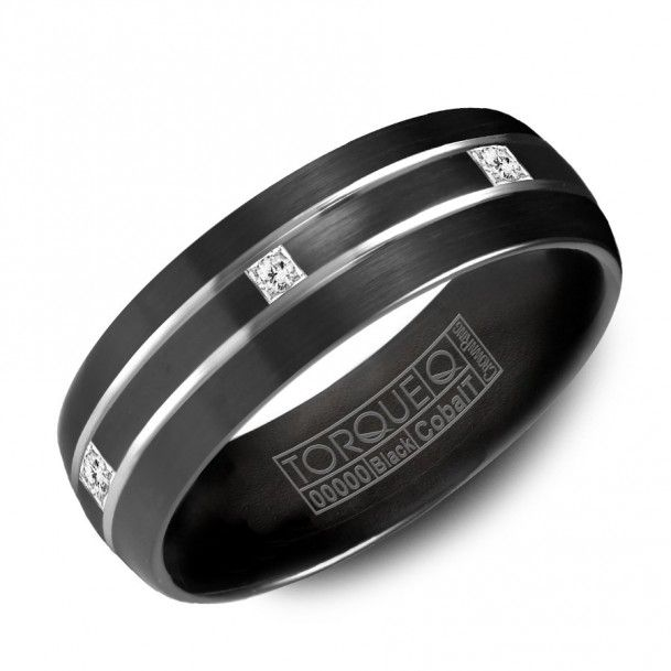 Mens Black Gold Wedding Band With Diamonds