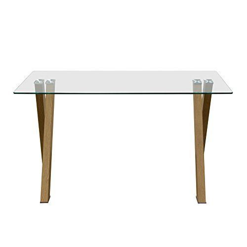 Element Rectangular Glass Top Dining Table With Metal Base In Wood Grain Finish By Diamond Sofa