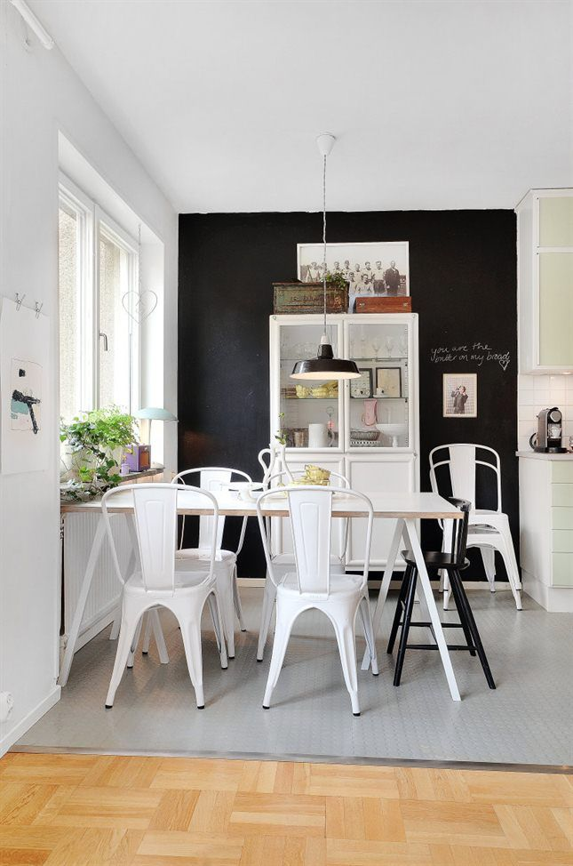Black White Dining Room Love The Wall And Tolkin Chairs