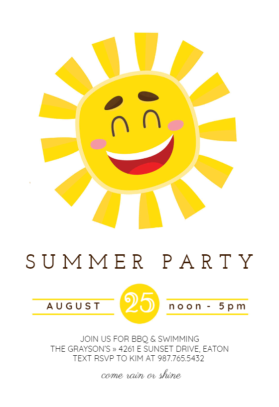 Smiling Sun Pool Party Invitation Template Free Greetings Island In 2020 Party Invite Template Summer Party Invitations Pool Party Invitation Template