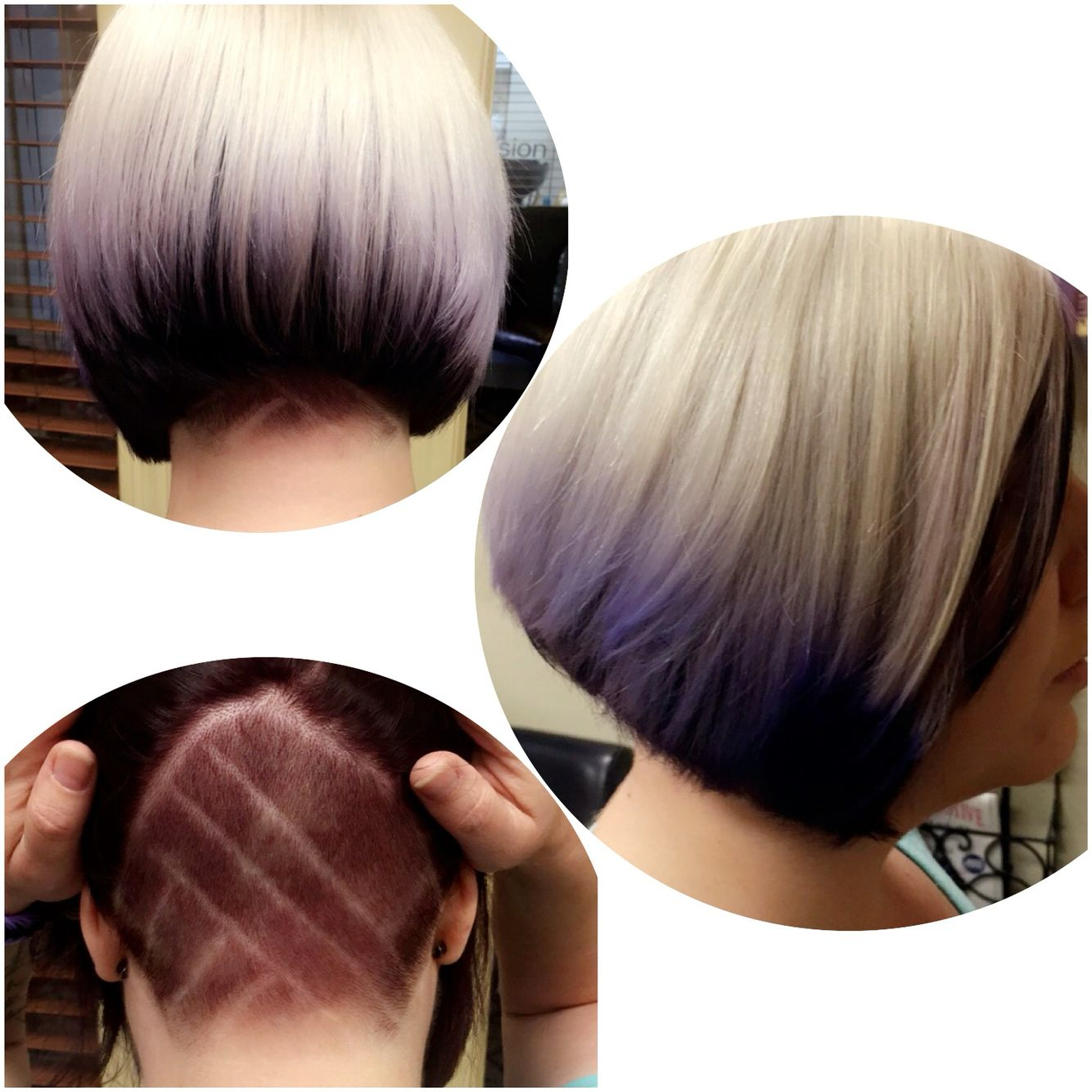bleached blonde align with purple tips and shaved underneath with