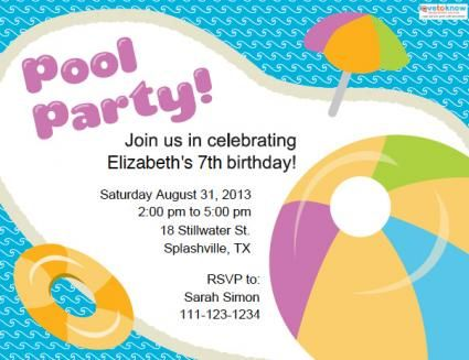 Free printable pool party invitation from LoveToKnow Party! DIY - pool party invitation